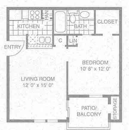 500 sq. ft. A-1 floor plan