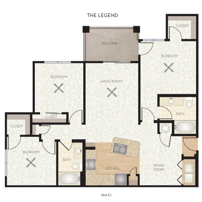 1,238 sq. ft. Legend floor plan