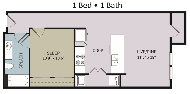 710 sq. ft. to 751 sq. ft. A2 floor plan