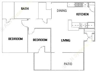 845 sq. ft. B1 floor plan