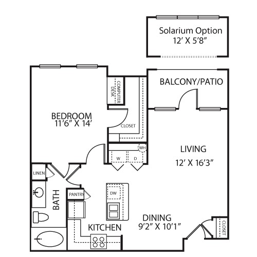 771 sq. ft. A1A floor plan