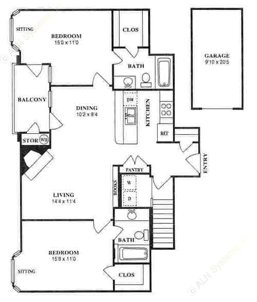 985 sq. ft. B1 floor plan