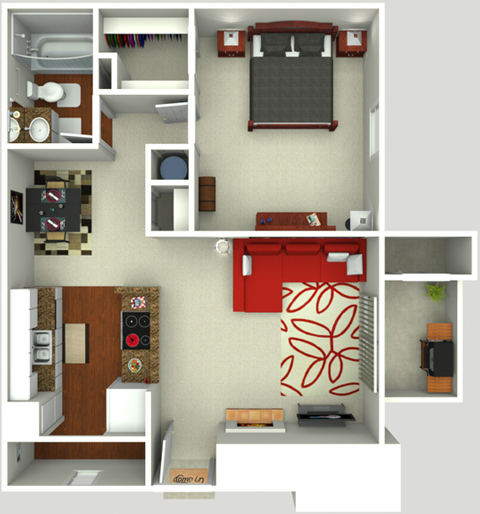 700 sq. ft. A2 floor plan