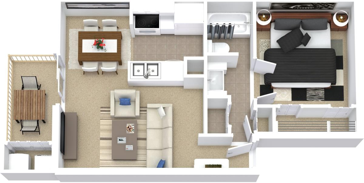 665 sq. ft. A4 floor plan