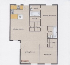 1,007 sq. ft. B6 floor plan