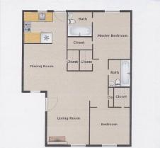 1,007 sq. ft. B4 floor plan