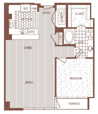 951 sq. ft. A4 floor plan