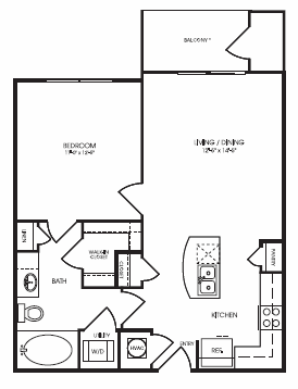 664 sq. ft. Enclave floor plan