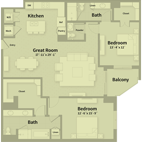 1,698 sq. ft. E1 floor plan