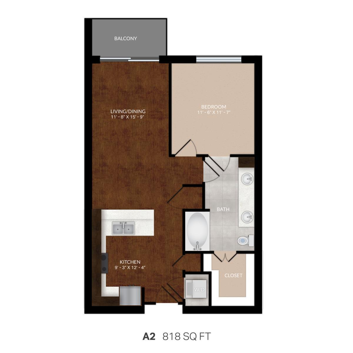 767 sq. ft. A2 floor plan