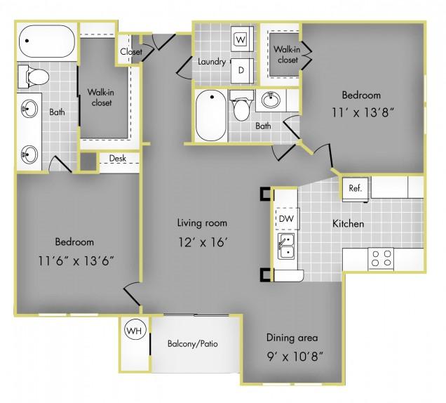 1,107 sq. ft. E floor plan