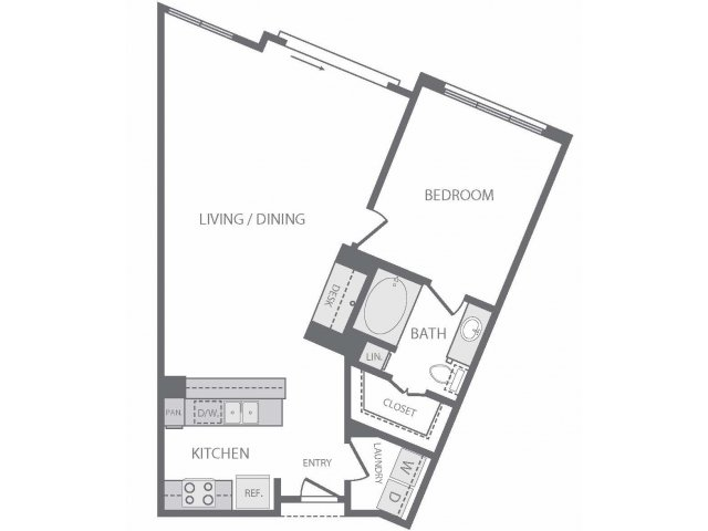 864 sq. ft. A9 floor plan