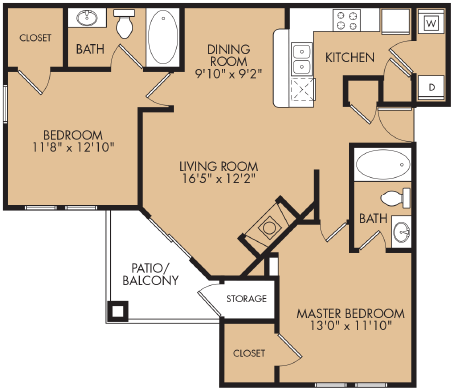 1,069 sq. ft. C4 floor plan