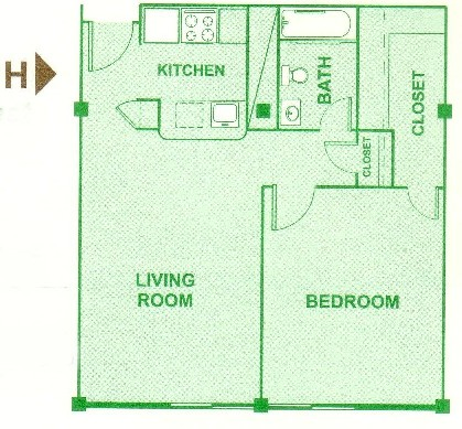 665 sq. ft. H floor plan