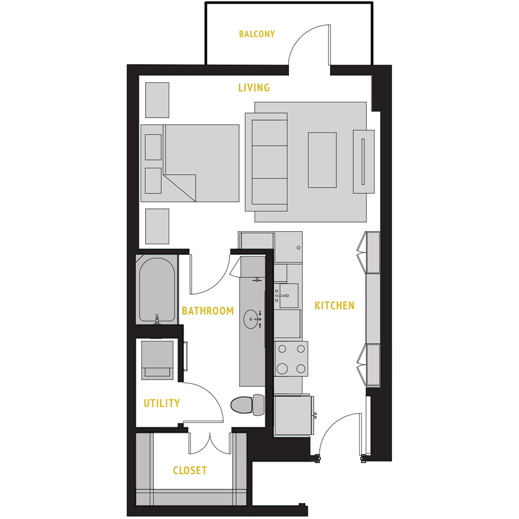 640 sq. ft. S2 floor plan