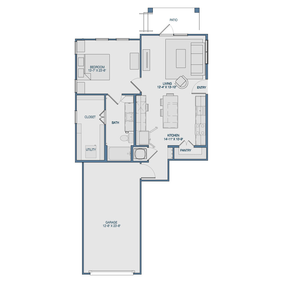 793 sq. ft. A4 floor plan