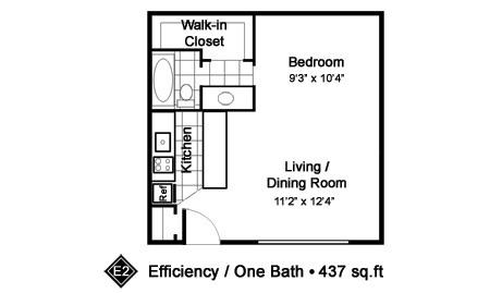 437 sq. ft. E2 floor plan