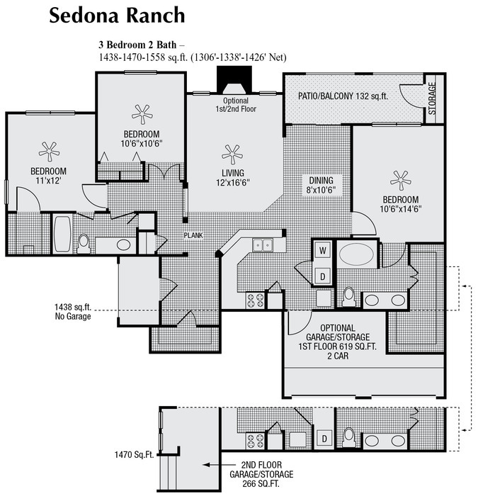 1,426 sq. ft. to 1,558 sq. ft. floor plan