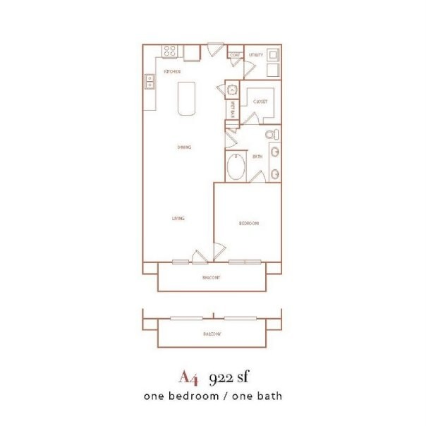 922 sq. ft. A4 floor plan