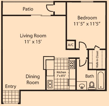 664 sq. ft. floor plan