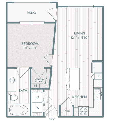 612 sq. ft. A2 floor plan