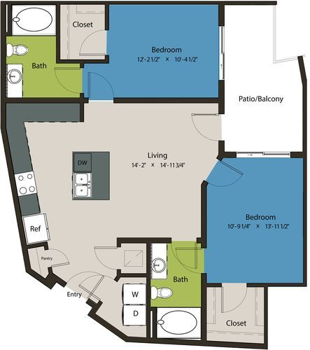 1,011 sq. ft. B6 floor plan