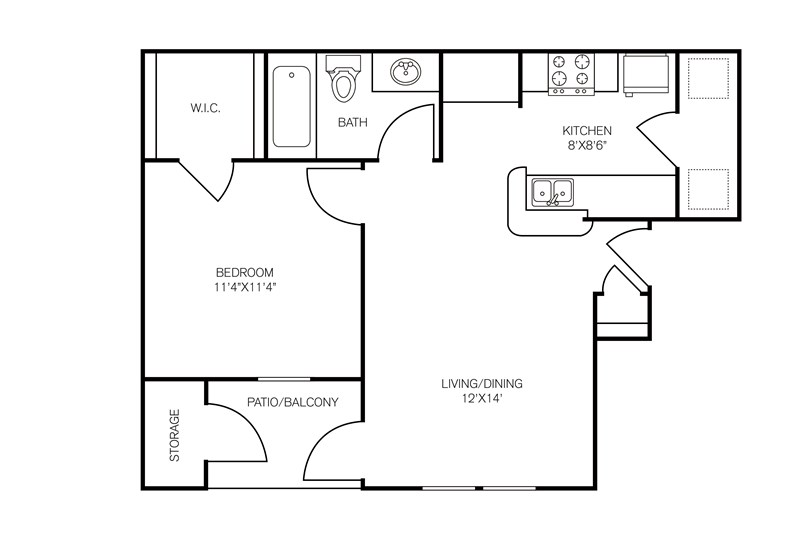 597 sq. ft. Cado floor plan