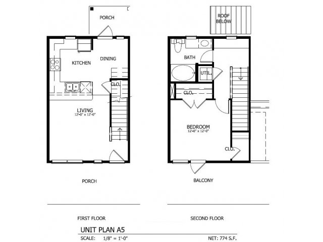 773 sq. ft. THA.5 floor plan