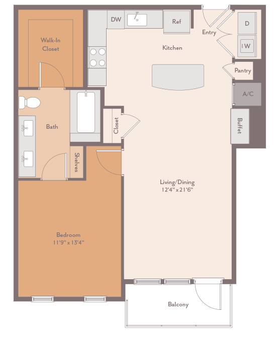 901 sq. ft. Cherryhurst-A1-A floor plan