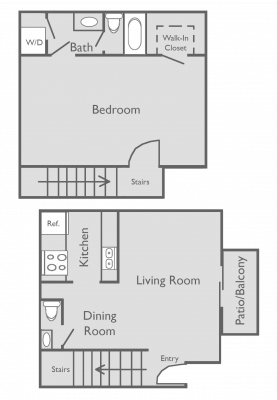 999 sq. ft. B floor plan