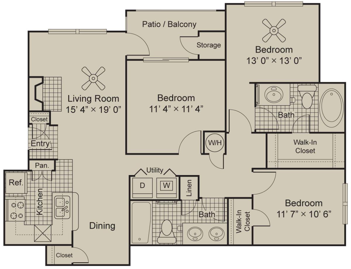 1,415 sq. ft. C2.2 floor plan