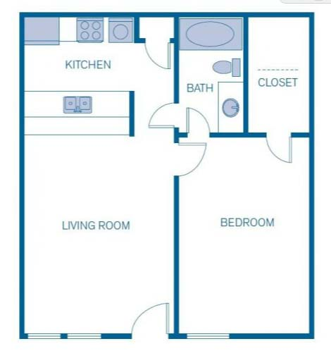 615 sq. ft. 1A floor plan