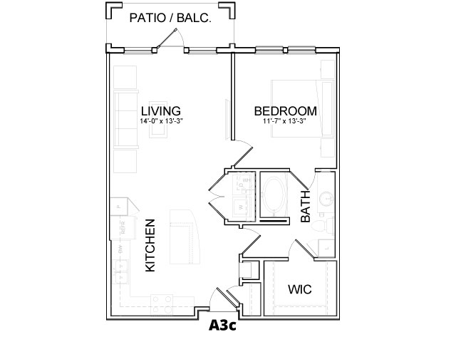 770 sq. ft. A3C floor plan