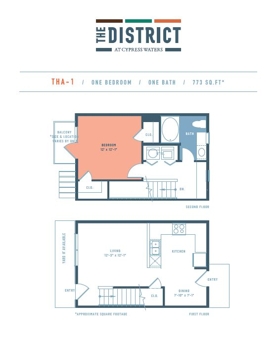 773 sq. ft. THA1 floor plan