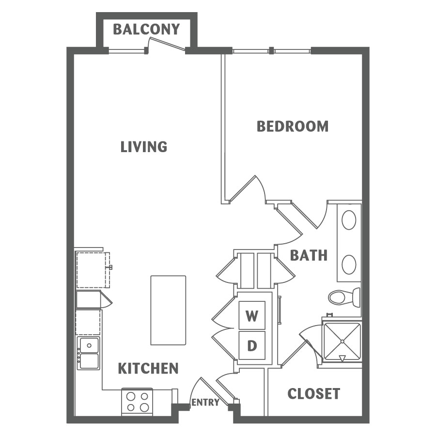 720 sq. ft. A2 floor plan