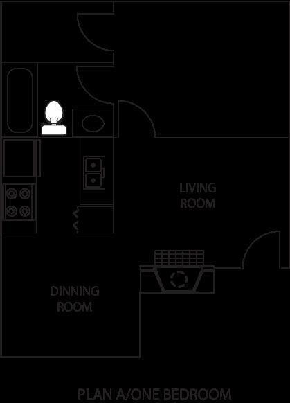 753 sq. ft. A1 floor plan
