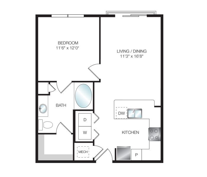 671 sq. ft. A1.1 floor plan