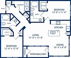 1,208 sq. ft. Redwood floor plan