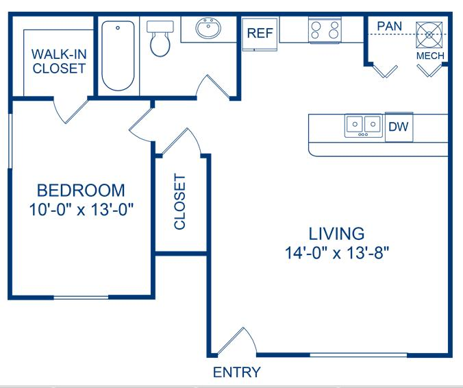 622 sq. ft. Brazos floor plan