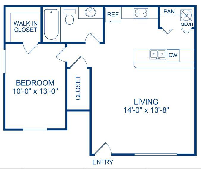 622 sq. ft. Brazos floor plan