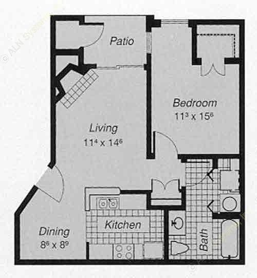 650 sq. ft. 1-A floor plan