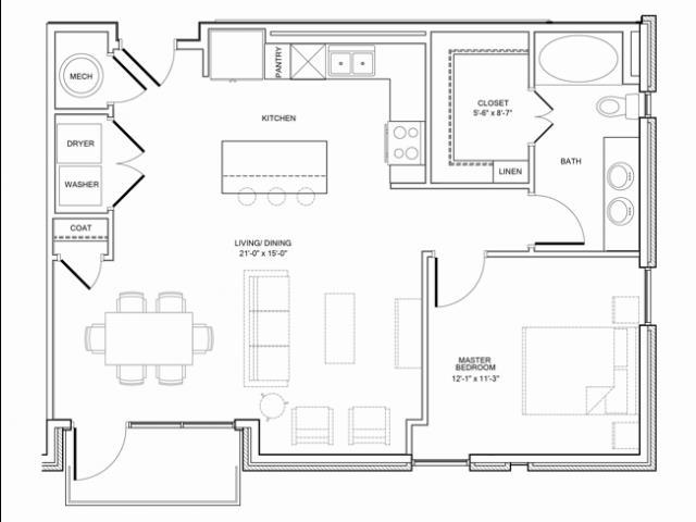 881 sq. ft. 1E floor plan