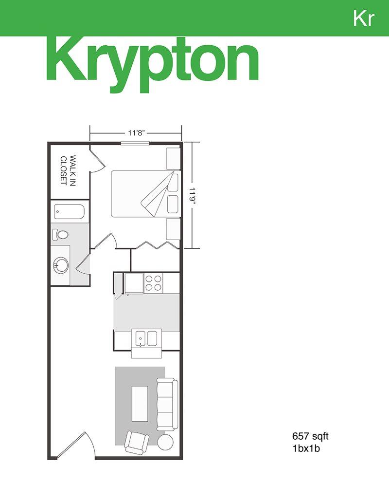 657 sq. ft. Krypton floor plan