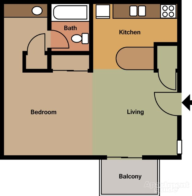 464 sq. ft. E1 floor plan