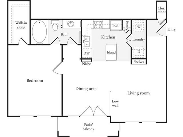744 sq. ft. A4 floor plan