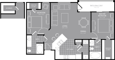 1,064 sq. ft. to 1,138 sq. ft. Mauve floor plan