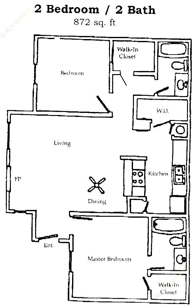 872 sq. ft. B2 floor plan