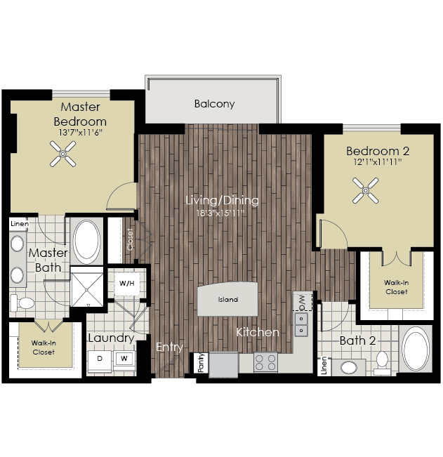 1,234 sq. ft. B3 floor plan