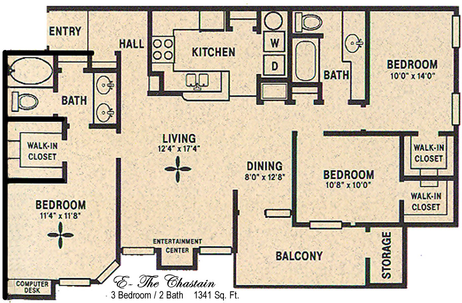 1,341 sq. ft. E/Chastain floor plan