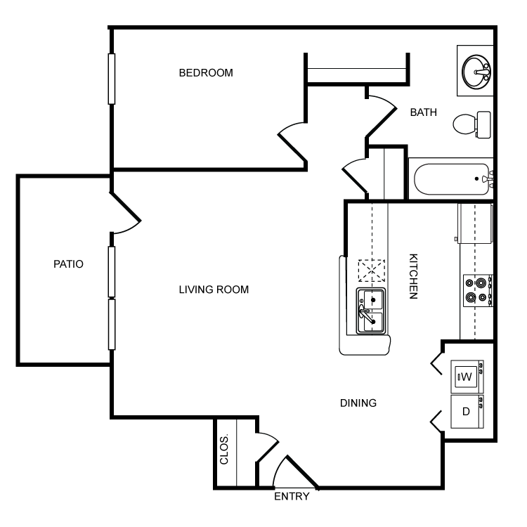 713 sq. ft. A floor plan